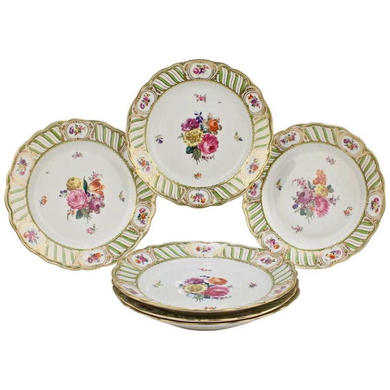 6 Antique Vienna Porcelain Plates with Green Borders & Deutsche Blumen Flowers For Sale