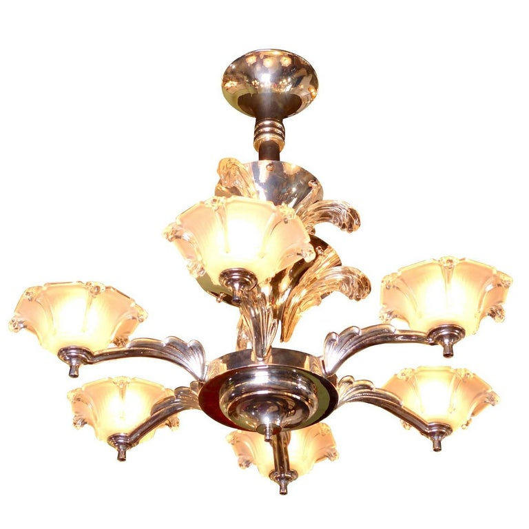 Six-Arm Art Deco Chandelier with Fountains, France, circa 1930