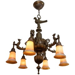 6-Arm Bronze Chandelier with Merman, and Art Glass Shades, circa 1910