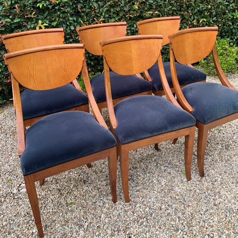 Art Deco 6 Armless Italian Deco Dining Chairs For Sale