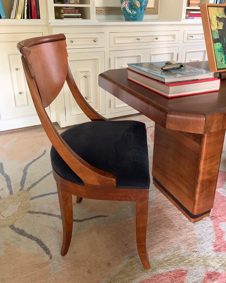 6 Armless Italian Deco Dining Chairs In Good Condition For Sale In Los Angeles, CA