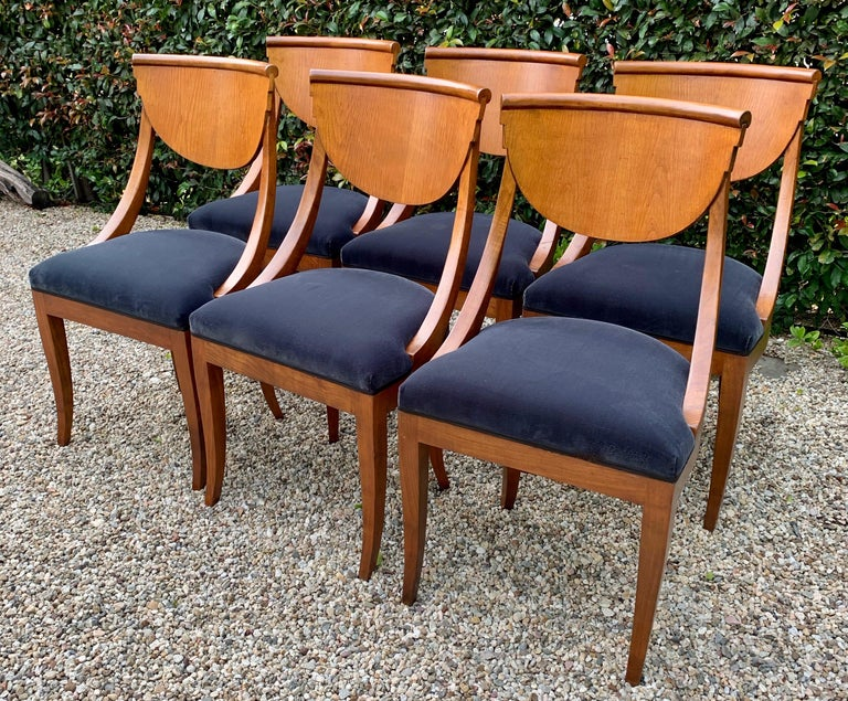 6 Armless Italian Deco Dining Chairs For Sale 1