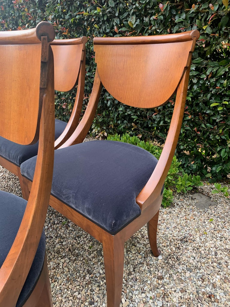 6 Armless Italian Deco Dining Chairs For Sale 2