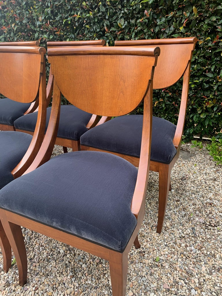 6 Armless Italian Deco Dining Chairs For Sale 3