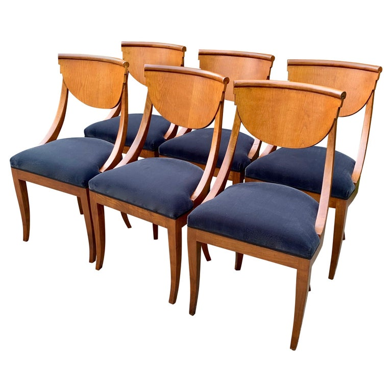 6 Armless Italian Deco Dining Chairs For Sale