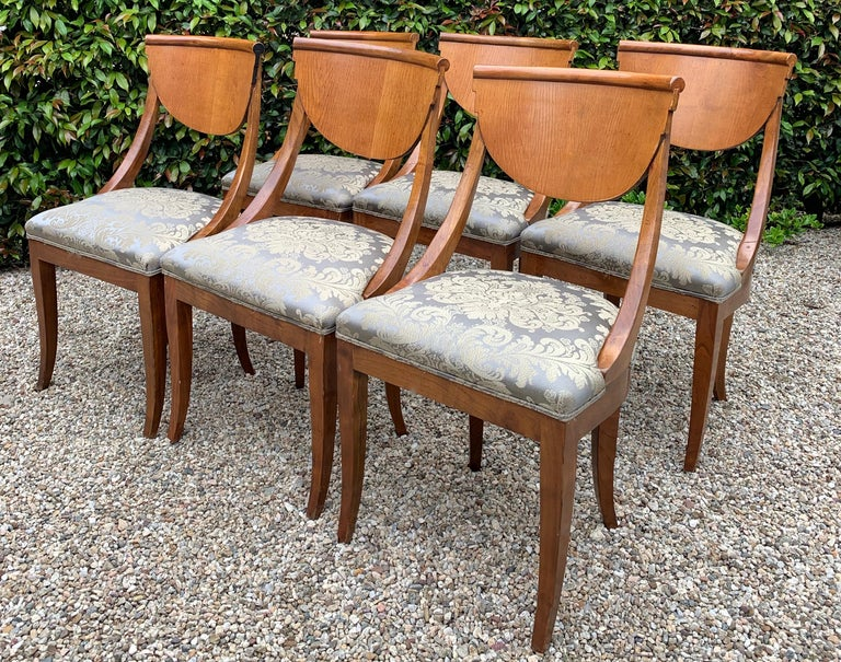 Art Deco 6 Armless Italian Satinwood Deco Dining Chairs For Sale