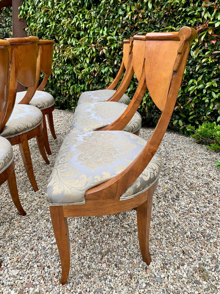 6 Armless Italian Satinwood Deco Dining Chairs In Good Condition For Sale In Los Angeles, CA