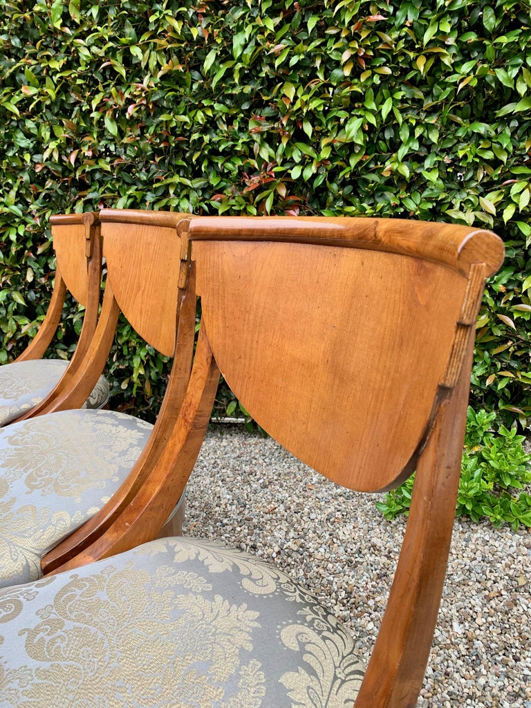 20th Century 6 Armless Italian Satinwood Deco Dining Chairs For Sale