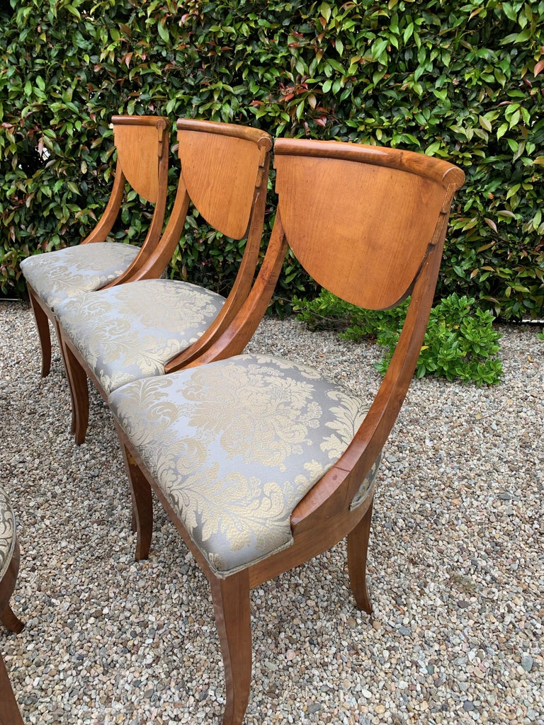 6 Armless Italian Satinwood Deco Dining Chairs For Sale 1
