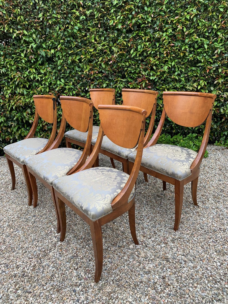 6 Armless Italian Satinwood Deco Dining Chairs For Sale 2