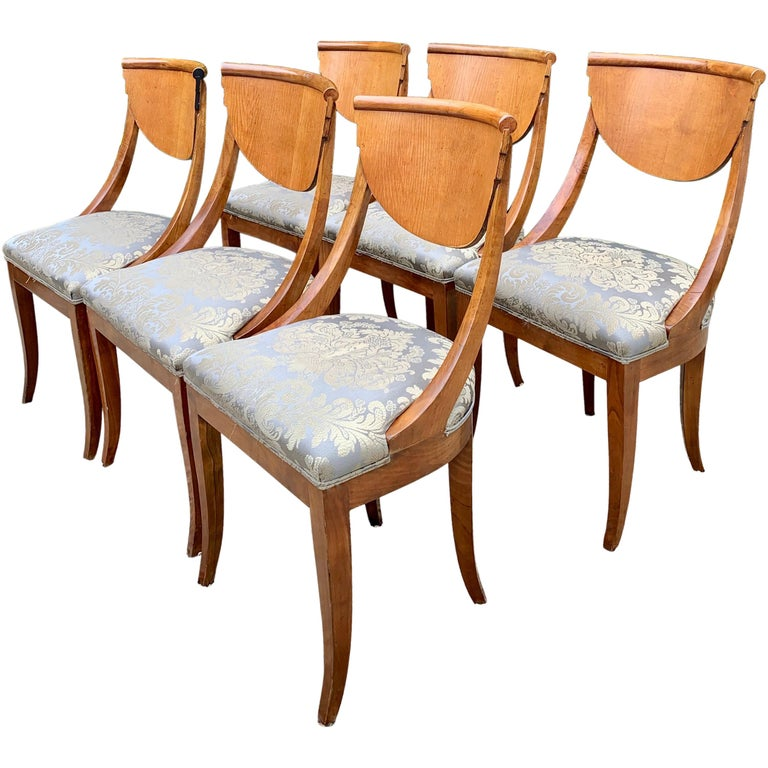 6 Armless Italian Satinwood Deco Dining Chairs For Sale