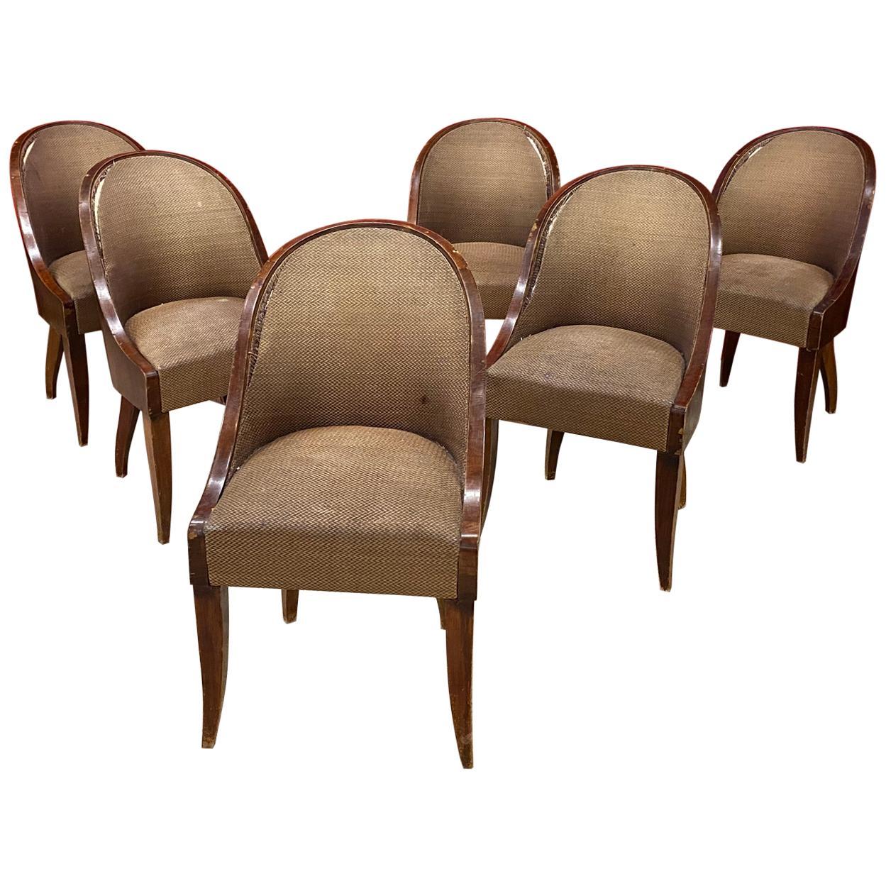 6 Art Deco Chairs, Gondola Back, circa 1930
