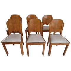 6 Art Deco Dinning Chairs with White Leatherte Seat
