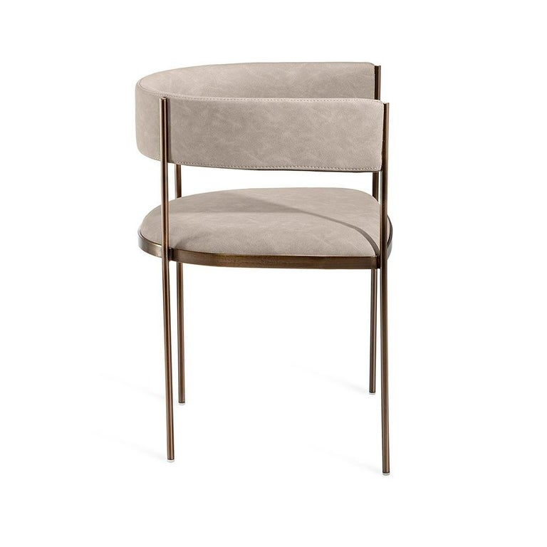 European 6 Art Deco Style Dining Chairs, Distressed Taupe/Antique Bronze For Sale
