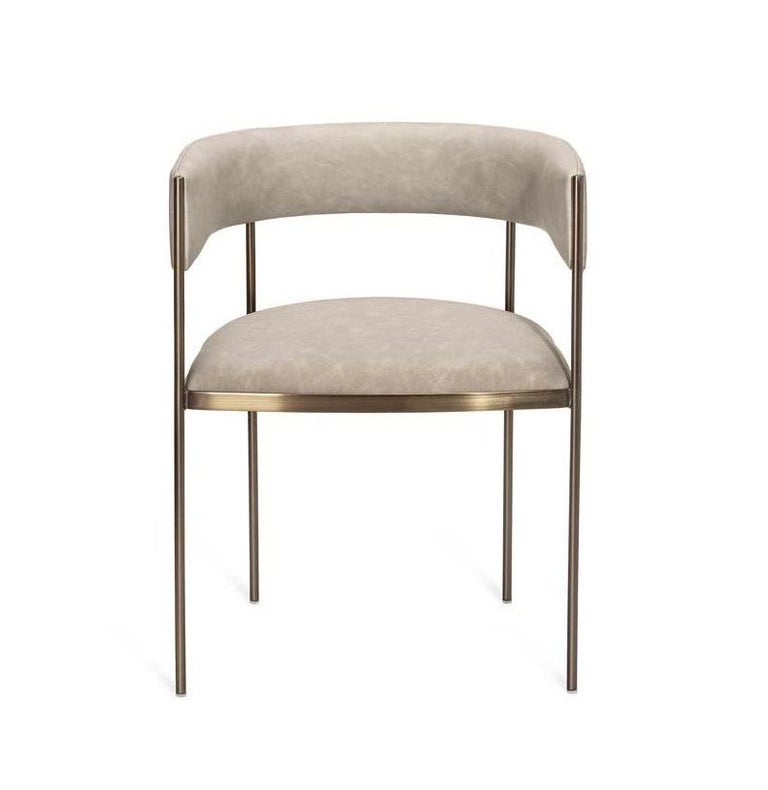 6 Art Deco Style Dining Chairs, Distressed Taupe/Antique Bronze In New Condition For Sale In New York, NY