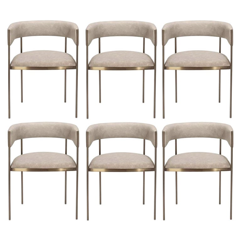 6 Art Deco Style Dining Chairs, Distressed Taupe/Antique Bronze For Sale