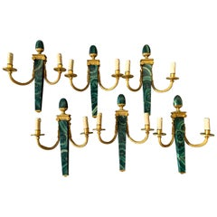 6 Available Hand Painted Faux Malachite Wall Sconces