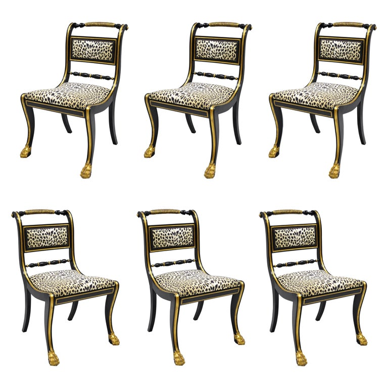 6 Black And Gold Regency Style Paw Feet Dining Chairs