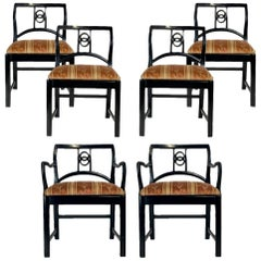 6 Black Lacquered Michael Taylor for Baker Dining Chairs w. Interlocking Circle