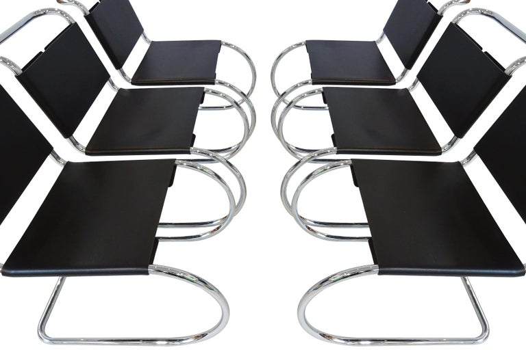 Bauhaus 6 Black Leather and Chrome Mies van der Rohe MR10 Chairs for Knoll International For Sale