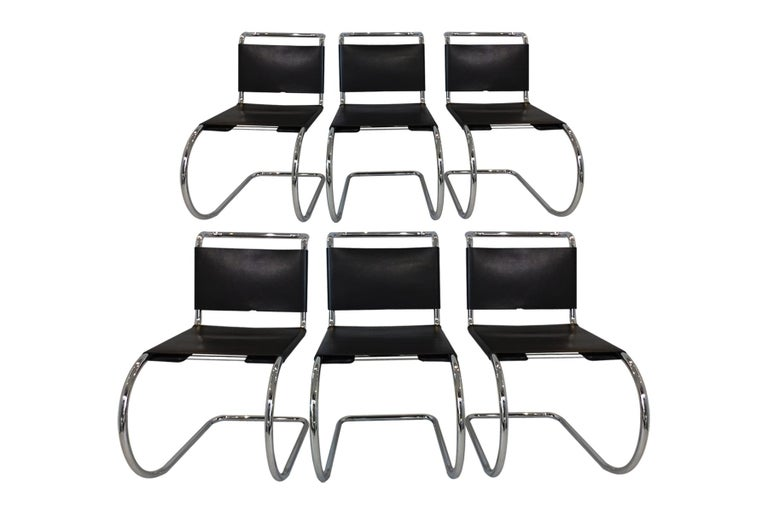 American 6 Black Leather and Chrome Mies van der Rohe MR10 Chairs for Knoll International For Sale