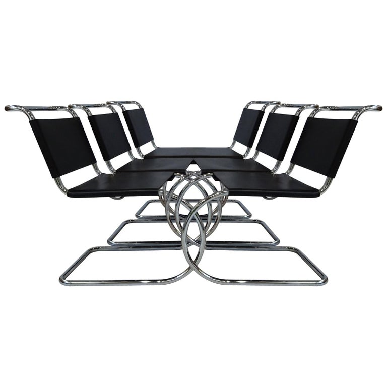 6 Black Leather and Chrome Mies van der Rohe MR10 Chairs for Knoll International For Sale