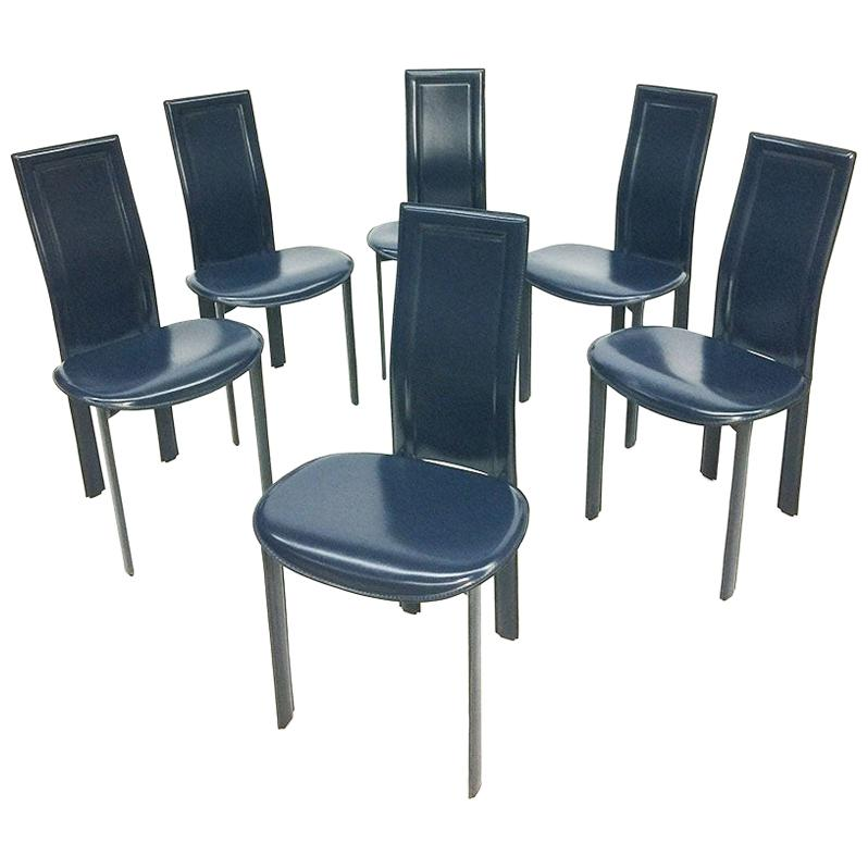 """6 Blue leather dining chairs """"Lara"""" design by Giorgio Cattelan, Italy"""