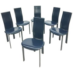 "6 Blue leather dining chairs ""Lara"" design by Giorgio Cattelan, Italy"