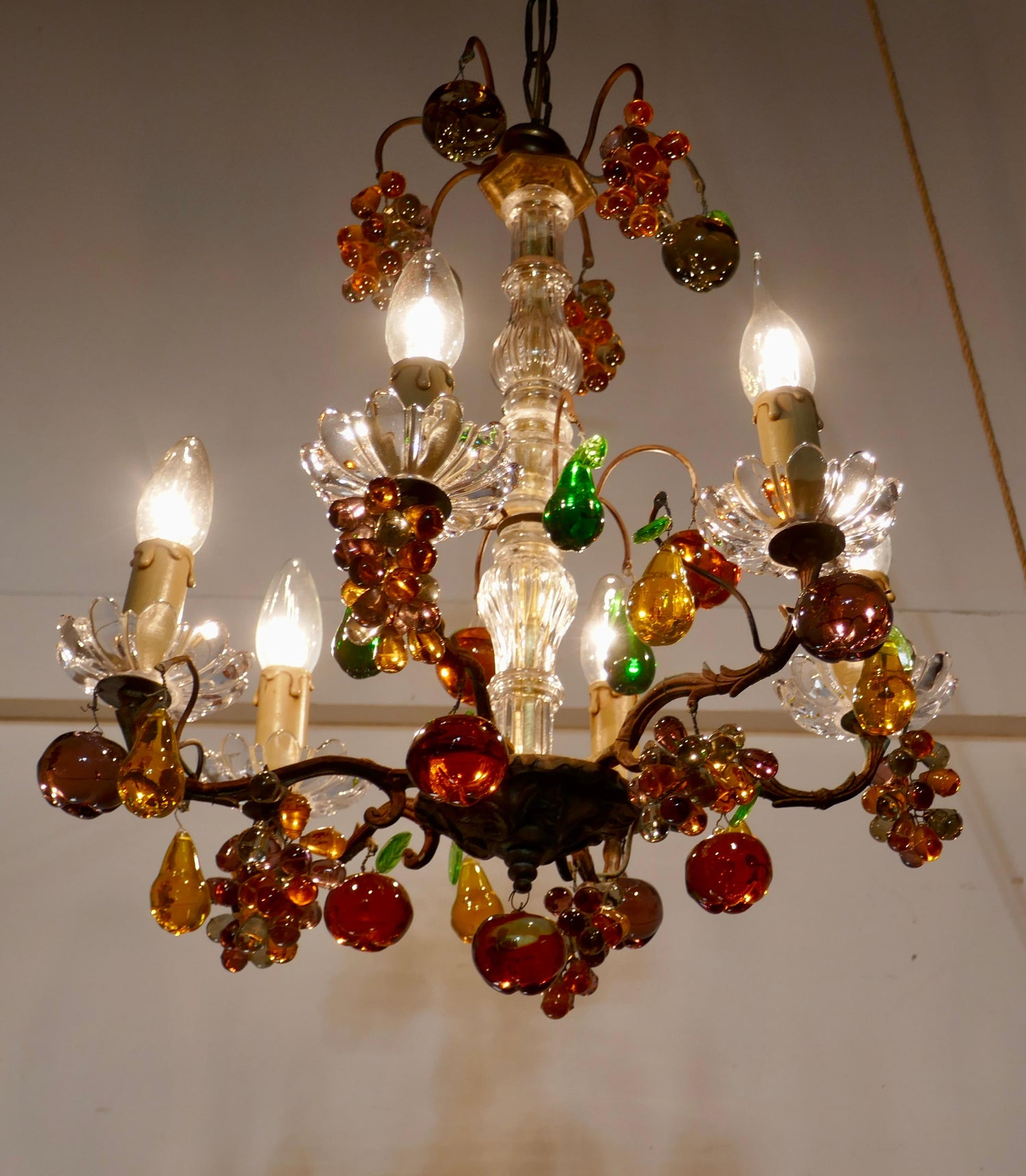 6 Branch Chandelier Hung with Colored Crystal Fruits, Grapes, Apples and Pears