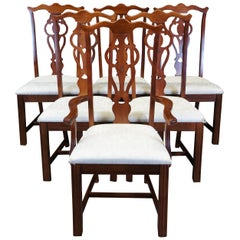 6 Broyhill Vintage Mahogany Chippendale Style Dining Chairs Traditional 5265-81