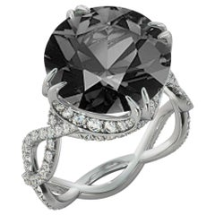 6 Carat 14 Karat White Gold Certified Round Black Diamond Ring