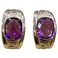 6 Carat Amethyst and Diamond 14 Karat White Gold Earrings, Omega Back