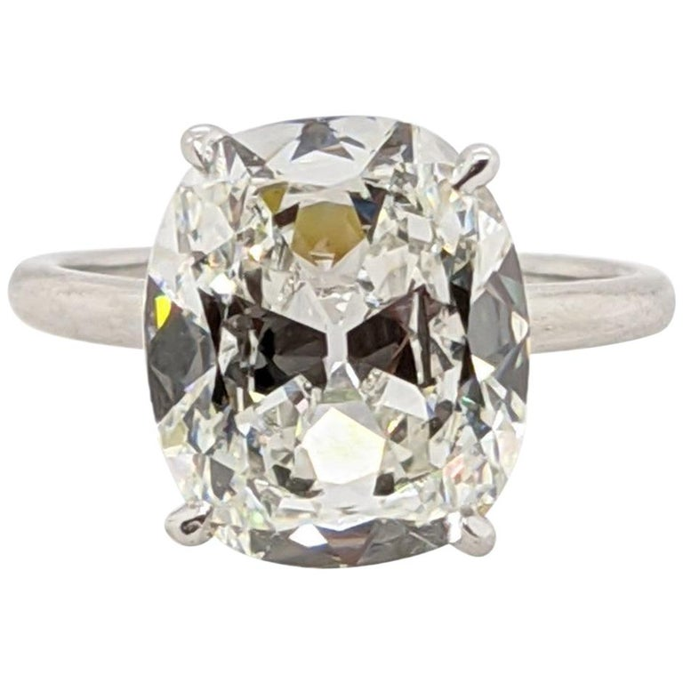 6 Carat Antique Cut Cushion Diamond H, VVS2 GIA, for Custom Mounting For Sale