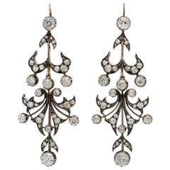 6 Carat Antique Diamond Gold Silver Chandelier Earrings