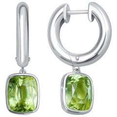 6 Carat Apple Green Tourmaline 14 Karat White Gold Hoop Earrings