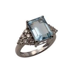 IGI Certified Aquamarine Diamond Ring 18 Karat White Gold UK Hallmarks