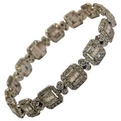 6 Carat Baguette and Round Brilliant Cut Diamond 18 Carat White Gold Bracelet