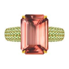 6 Carat Bicolor Peach Natural Tourmaline Peridot 14 Karat Yellow Gold Ring