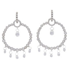 6 Carat Briolette Drop Diamond Hoop Cocktail Earrings in 18 Karat White Gold
