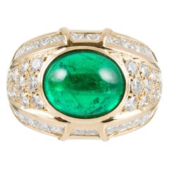 6 Carat Cabochon Emerald and Diamond Dome Ring