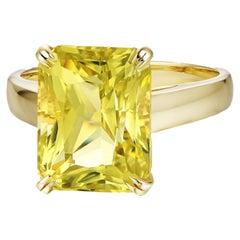 6 Carat Citrine Ring 18 Karat Yellow Gold