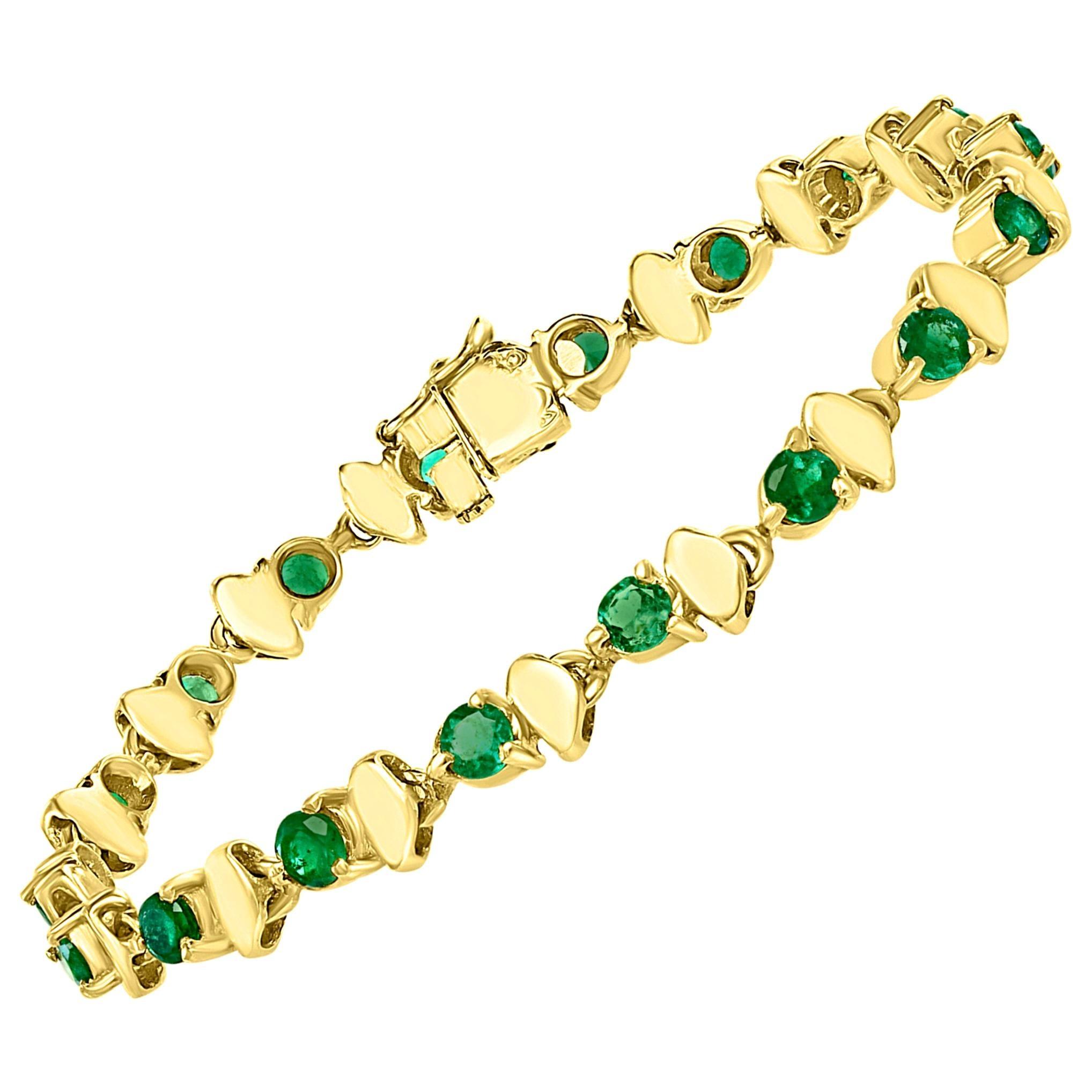 6 Carat Colombian Round Emerald Tennis Bracelet 18 Karat Yellow Gold