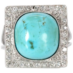 6 Carat Cushion Cut Turquoise Cabochon with 1.44 Carat Diamond Ring in Platinum