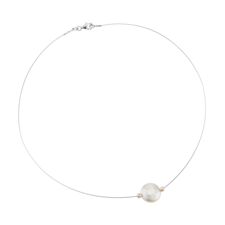 .6 Carat Diamond Cultured Freshwater Pearl White Gold Wire Necklace For Sale