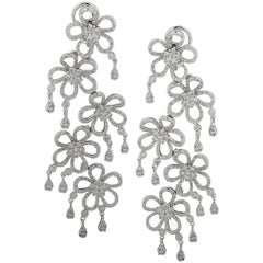 6 Carat Diamond Flower Dangle Earrings