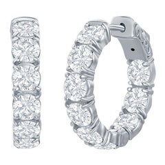 6 Carat Diamond Hoop Earrings White Gold