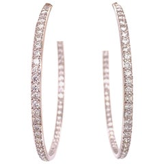 6.00 Carat Diamond In and Out Large Hoop 18 Karat White Gold Earrings