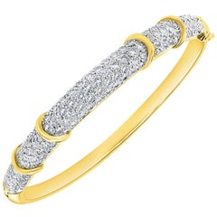 6 Carat Diamond Large Bangle /Bracelet in 18 Karat Yellow Gold 36 Grams