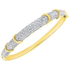 6 Carat Diamond Large Bangle /Bracelet in 18 Karat Yellow Gold 36 Grams
