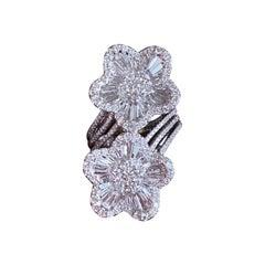 """6 Carat Diamond Modern """"Toi et Moi"""" Double Flower Ring in 18 Karat White Gold"""